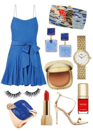 إرتدي فستان Alice + Olivia الأزرق الصيفي